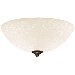 Brushed Steel Fluorescent Three Light Ceiling Fan Fixture with White Linen Glass