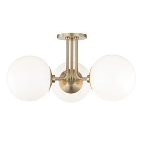 Stella Aged Brass 24-Inch Three-Light Semi-Flush Mount