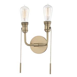 Lexi Aged Brass 8-Inch Two-Light Wall Sconce