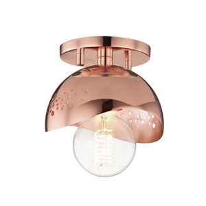 Heidi Polished Copper 6-Inch One-Light Flush Mount