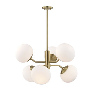 Estee Aged Brass 28-Inch Six-Light Chandelier