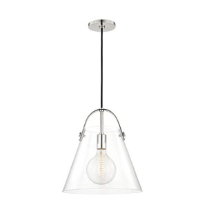 Karin Polished Nickel 13-Inch One-Light Pendant