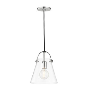 Karin Polished Nickel 9-Inch One-Light Mini Pendant