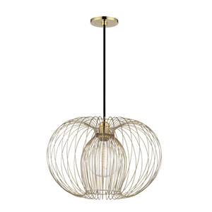 Jasmine Polished Brass 17-Inch One-Light Pendant