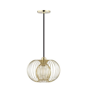 Jasmine Polished Brass 12-Inch One-Light Pendant