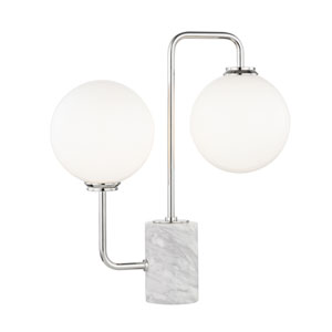 Mia Polished Nickel 7-Inch Two-Light Table Lamp