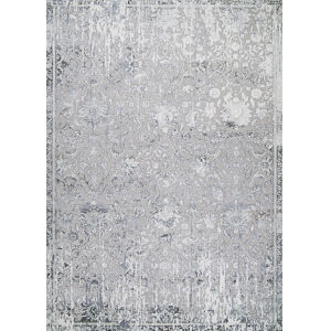 Brocatelle Brocade Damask Floral Silver Cream Rectangular: 7 Ft. 10 In. x 10 Ft. 9 In. Rug
