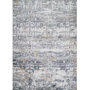 Brocatelle Lampas Abstract Silver Cream Runner: 2 Ft. 7 In. x 7 Ft. 10 In.