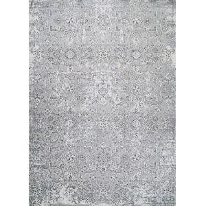 Brocatelle Velveteen Floral Silver Rectangular: 5 Ft. 3 In. x 7 Ft. 6 In. Rug