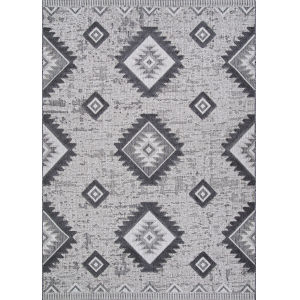 Veranda Posh Light Gray and Anthracite 2 Ft. 2 In. x 7 Ft. 7 In. Rectangular Indoor/Outdoor Runner Rug