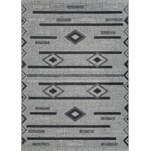 Veranda Baja Gray and Coal 2 Ft. 2 In. x 7 Ft. 7 In. Rectangular Indoor/Outdoor Runner Rug