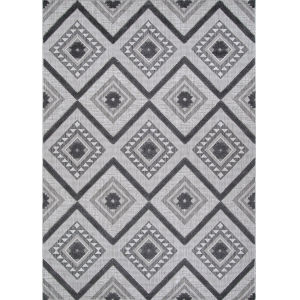 Veranda Boho Light Gray and Anthracite 2 Ft. 2 In. x 7 Ft. 7 In. Rectangular Indoor/Outdoor Runner Rug