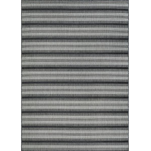 Veranda Havasu Stripe Gray and Coal 2 Ft. 2 In. x 7 Ft. 7 In. Rectangular Indoor/Outdoor Runner Rug