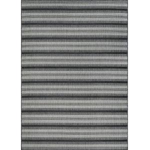 Veranda Havasu Stripe Gray and Coal 5 Ft. 3 In. x 7 Ft. 6 In. Rectangular Indoor/Outdoor Area Rug