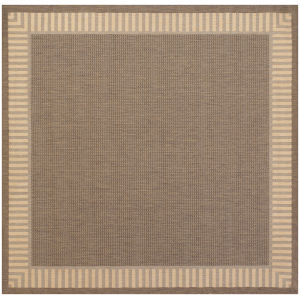 Recife Wicker Stitch Cocoa and Natural 8 Ft. 6 In. Square Indoor/Outdoor Rug