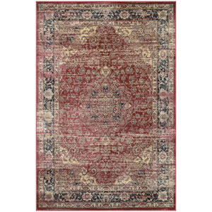 Zahara Persian Vase Red, Black and Oatmeal Runner: 2 Ft. x 3 Ft. 7-Inch