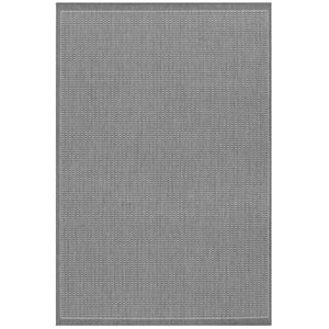 Recife Saddle Stitch Grey White Rectangular: 5 ft. 3 in. x 7 ft. 6 in. Rug