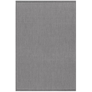 Recife Saddle Stitch Grey and White 8 Ft. 6 In. X 13 Ft. Indoor/Outdoor Rectangular Rug