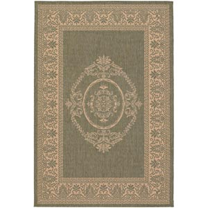 Recife Antique Medallion Green Natural Rectangular: 5 ft. 10 in. x 9 ft. 2 in. Rug