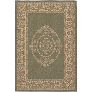Recife Antique Medallion Green and Natural 8 Ft. 6 In. X 13 Ft. Indoor/Outdoor Rectangular Rug