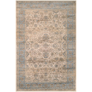 Zahara Embellished Blossom Light Blue and Oatmeal Runner: 2 Ft. x 3 Ft. 7-Inch