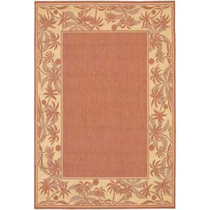Recife Island Retreat Terra Cotta and Natural Rectangular: 5 ft. 3 in. x 7 ft. 6 in. Rug