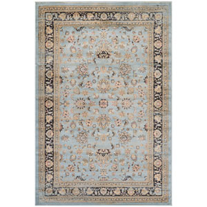 Zahara Farahan Amulet Light Blue and Black Runner: 2 Ft. x 3 Ft. 7-Inch