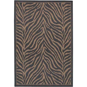 Recife Zebra Black and Cocoa Rectangular: 5 ft. 3 in. x 7 ft. 6 in. Rug