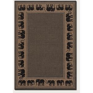 Recife Elephant Cocoa Black Rectangular: 5 ft. 3 in. x 7 ft. 6 in. Rug