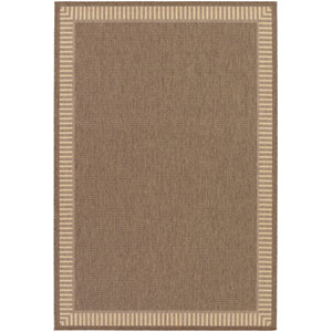 Recife Wicker Stitch Cocoa and Natural 5 Ft. 10 In. X 9 Ft. 2 In. Indoor/Outdoor Rectangular Rug