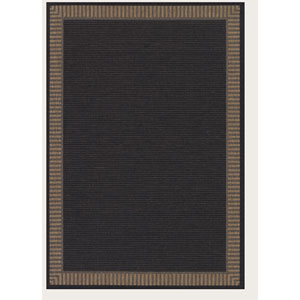 Recife Wicker Stitch Black and Cocoa 3 Ft. 9 In. X 5 Ft. 5 In. Indoor/Outdoor Rectangular Rug