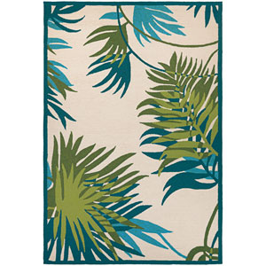 Covington Jungle Leaves Ivory and Forest Green Rectangular: 2 Ft x 4 Ft Rug