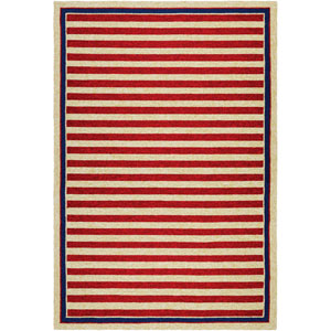 Covington Nautical Stripes Red and Navy Rectangular: 2 Ft x 4 Ft Rug