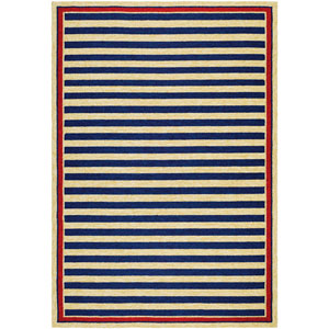 Covington Nautical Stripes Navy and Red Rectangular: 2 Ft x 4 Ft Rug