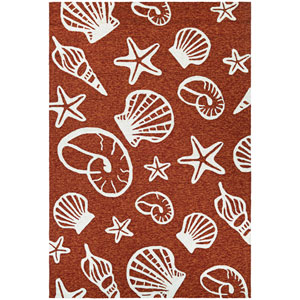 Outdoor Escape Cardita Shells Terra Cotta and Ivory Rectangular: 2 Ft x 4 Ft Rug