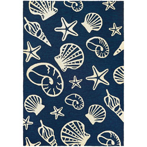 Outdoor Escape Cardita Shells Navy and Ivory Rectangular: 2 Ft x 4 Ft Rug