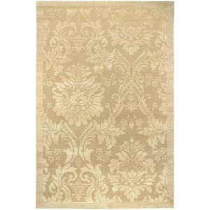 Impressions Antique Damask Gold and Ivory Rectangular: 6 ft. x 9 ft. Rug