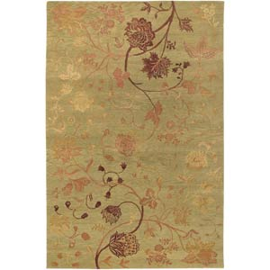 Impressions Oriental Garden Sage and Raspberry Rectangular: 6 ft. x 9 ft. Rug