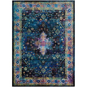 Gypsy Chartres Ultramarine and Mocha Rectangular: 3 Ft. 6 In. x 5 Ft. 6 In. Rug