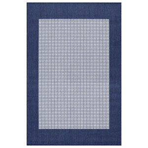 Recife Checkered Field Ivory and Indigo Rectangular: 2 Ft. x 3 Ft. 7 In. Indoor/Outdoor Rug