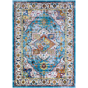 Gypsy Ely Aqua and Ivory Rectangular: 3 Ft. 6 In. x 5 Ft. 6 In. Rug