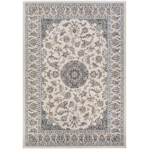 Monarch Medallion Antique Cream and Slate Rectangular: 3 Ft. 3 In. x 5 Ft. 3 In. Rug