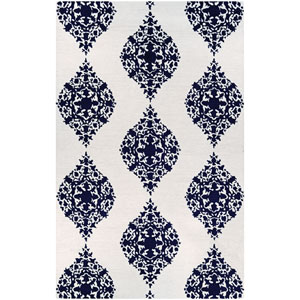 Crawford Ornament Ivory and Blue Rectangular: 2 Ft. x 3 Ft. Rug