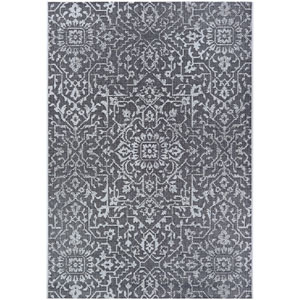 Monte Carlo Palmette Black and Grey Rectangular: 2 Ft. x 3 Ft. 7 In. Indoor/Outdoor Rug