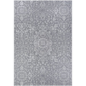 Monte Carlo Palmette Grey and Ivory Rectangular: 5 Ft. 3 In. x 7 Ft. 6 In. Indoor/Outdoor Rug