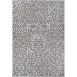 Monte Carlo Palmette Mushroom and Ivory Rectangular: 5 Ft. 3 In. x 7 Ft. 6 In. Indoor/Outdoor Rug
