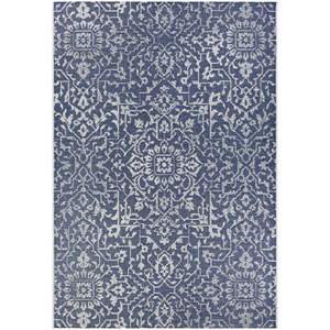 Monte Carlo Palmette Navy and Ivory Rectangular: 5 Ft. 3 In. x 7 Ft. 6 In. Indoor/Outdoor Rug