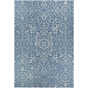 Monte Carlo Palmette Ocean and Ivory Rectangular: 5 Ft. 3 In. x 7 Ft. 6 In. Indoor/Outdoor Rug