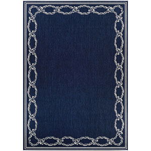 Recife Rope Knot Ivory and Indigo Rectangular: 2 Ft. x 3 Ft. 7 In. Indoor/Outdoor Rug