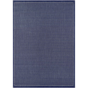 Recife Saddle Stitch Ivory and Indigo Rectangular: 5 Ft. 10 In. x 9 Ft. 2 In. Indoor/Outdoor Rug
